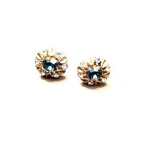 Anthropologie blue and gold floral stud earrings